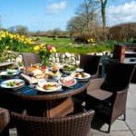 Enjoy a BBQ overlooking the meadow beyond at our luxury cottage Cornwall