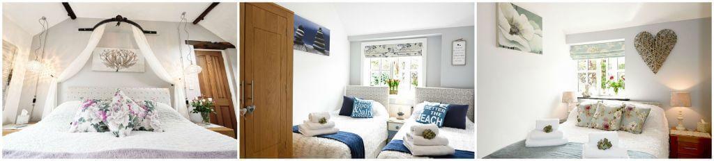 Luxury Holiday Cottages in Cornwall; Meadowview Cottage bedrooms for a luxury cottage Cornwall holiday. Luxury baby friendly holiday cottage. One of two Visit England 5 star gold luxury self catering holiday cottages in Cornwall. Luxury family friendly cottages with Child friendly facilities
