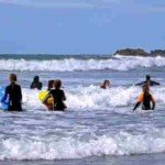 Family fun learning to surf in North Cornwall at Crackington Haven 10 mins from our luxury cottage Cornwall
