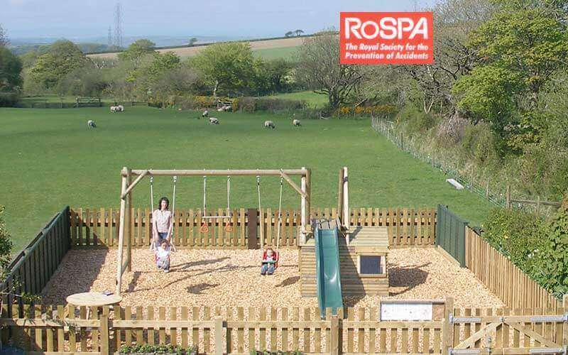 A RoSpA inspected play park for your children's exclusive use at our luxury family friendly self catering holiday cottage Cornwall