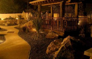 Garden-at-Night-at-Meadowview-Cottage Cornwall Self Catering Luxury